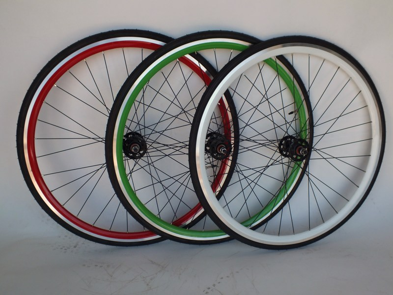 Parts Green, Red or White Sealed Doublewall Flip-Flop Track wheels with Tires Image